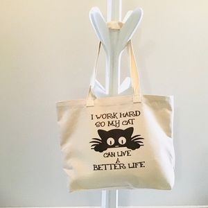 Canvas Tote Bag Hand Printed Cat Lovers Animal Print Womens Shopping Bag New